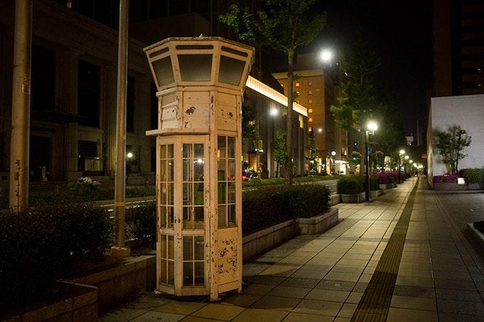 GRIII(GR3)旧居留地フォトウォーク_レトロな公衆電話(夜)