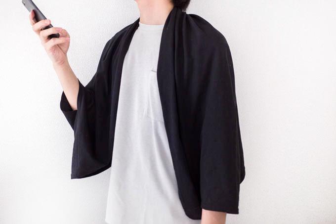 無印 日焼けを防ぐUPF50+ボレロ_男性の着用写真
