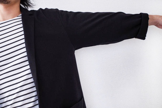 GUライトカットソージャケット_袖のサイズ感
