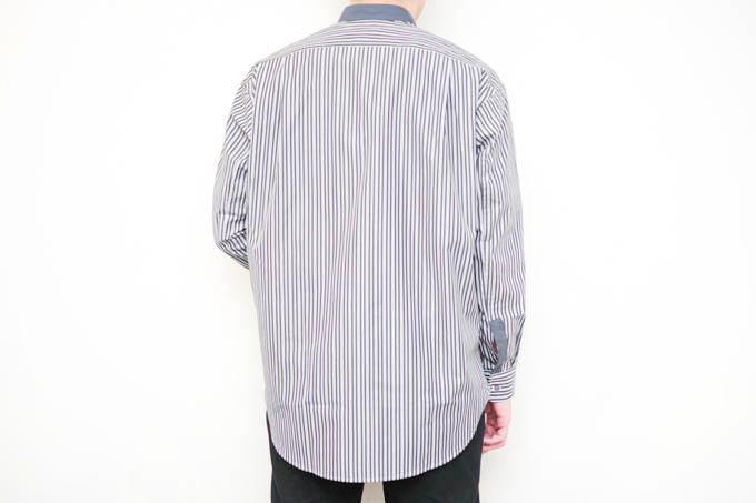 UNIQLO+J2021SS_スーピマコットンオーバーサイズスタンドカラーシャツ_背面着用写真